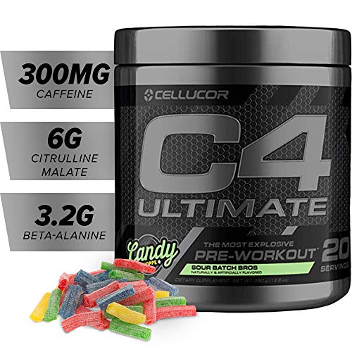 Cellucor C4 Ultimate Pre Workout Powder with Beta Alanine, Creatine Nitrate, Nitric Oxide, Citrulline Malate, and Energy Drink Mix, Sour Batch Bros, 20 Servings