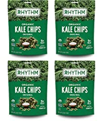 PERFECT ON-THE-GO SNACK: Don't let your busy day stop you from living a healthy, nutrient-rich lifestyle. Enjoy 4 convenient, snack size kale chip packs to fuel your day! FIND YOUR RHYTHM: Simple and satisfying - Our dehydrated kale chips are always ...