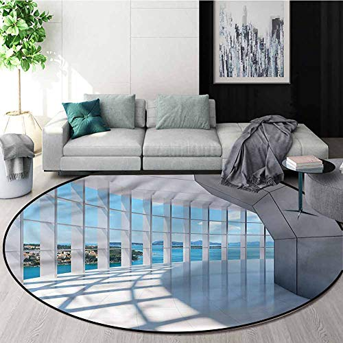 Fantastic Prices! RUGSMAT White Modern Simple Round Rug,Skyscrapers Seascape View Home Decor Foor Ca...