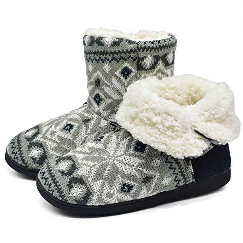 ONCAI Damen Warme Hausschuhe Stiefel Gestrickte Mode Winterschuhe Bootie Muster Gedruckt rutschfeste Baumwollschuhe, Grau, 42/43 EU