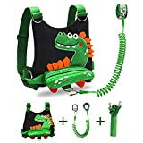 Toddler Leash 3 in 1 Toddler Backpack Harness with Anti Lost Wrist Link for Kids, Dinosaur Safety Child Leash Adjustable Wristband Assistant Strap for Children Walking in Public(Black)