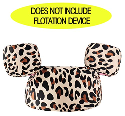 Kraftychix Seersucker Puddle Jumper Cover, Baby Gingham Swim Life Jacket Cover,Personalized Flotation Device Cover Weighing from 30 to 50 lbs Life Vest (Leopard)