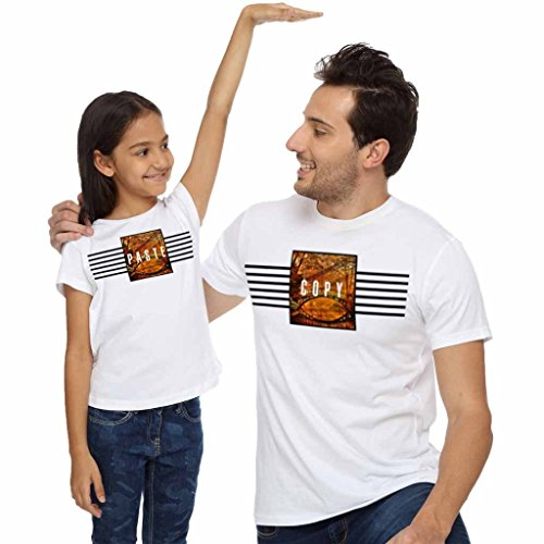 Bon Organik Copy Paste Dad and Daughter TeeBest Family Matching Dad and Daughter Tshirts Cotton T-Shirt Set for Father and Daughter(Pack of 2) ((BON1718-DP-WH-MG23 Dad L -Daughter 4-6Y) White