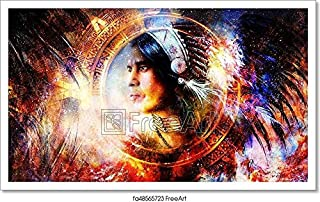 Barewalls Painting of A Young Indian Warrior Wearing A Gorgeous Feather Headdress and Mayan Calendar Ornament. Cosmic Background. Profile Portrait. Paper Print Wall Art (12in. x 20in.)
