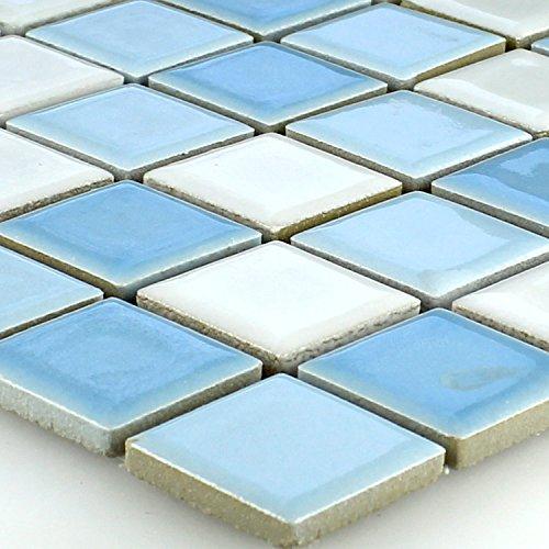 Keramik Mosaik Fliesen Blau Weiss Mix 25x25x5mm