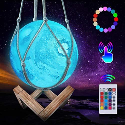 JBHOO Nuovo Lampada Luna 3D Lampada da Notte Ricaricabile a 16 Colori, Lampada Marte LED con Supporto in Legno e Rete Sospesa, Telecomando e Controllo Touch Regalo Perfetto per Bambini Amici