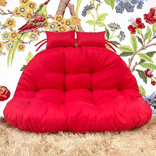 N/A - Silla de ratán, cojín para hamaca, cojín para colgar sillas, cojín para columpio, asiento acolchado para 2 personas, hamaca de ratán, almohadilla gruesa para colgar en la parte trasera con almohada, color blanco cremoso 117 x 145 cm, rojo, 117x145cm