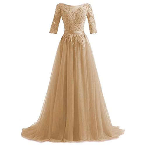 82c4a417e234 Huifany Women's V Neck Lace A-line Empire Long Formal Evening Dress Prom  Gown
