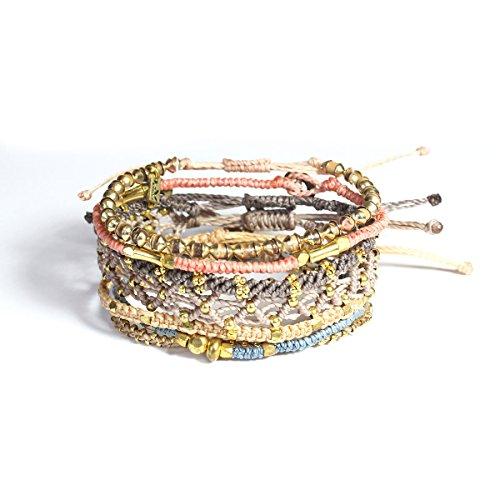 Wakami Earth Charm Bracelet Set of 7   Handmade Boho Jewelry for Women   Earth   Braided, Beaded, Waterproof, Fair Trade, Stackable Bracelets   3 Strands Sliding Closure, 4 Strands Button Closure