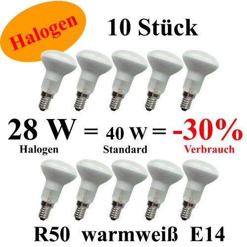 netSells® * 10 Stück Halogen Reflektorlampe/Spotlampe/Glühlampe R50 R 50 * E14 / 28 W / 230 V * Energieeffizienzklasse D