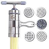 Maker manual de fideos, fideos de acero inoxidable Pasta Maker con 5 modelos Máquina de fideos Herramienta de cocina