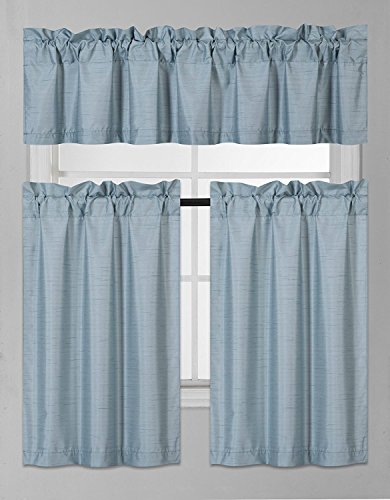 Elegant Home Collection 3 Piece Solid Color Faux Silk Blackout Kitchen Window Curtain Set with Tiers and Valance Solid Color Lined Thermal Blackout Drape Window Treatment Set #K3 (Slate Blue)
