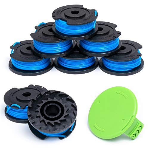 Future Way String Trimmer Spools Replacement for GreenWorks Cordless Trimmers, 29252 Weed Eater String Line, 8 Spools & 1 Cap, Easy to Install