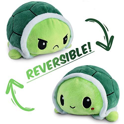 Odwracalny żółw plushie szczęśliwy smutny żółw miś pokaż swój nastrój z dwustronną klapką nastrój żółw super puszysty słodki mini wypchany żółw Tik Tok trend rzeczy odpowiednie dla wszystkich grup wiekowych zielony