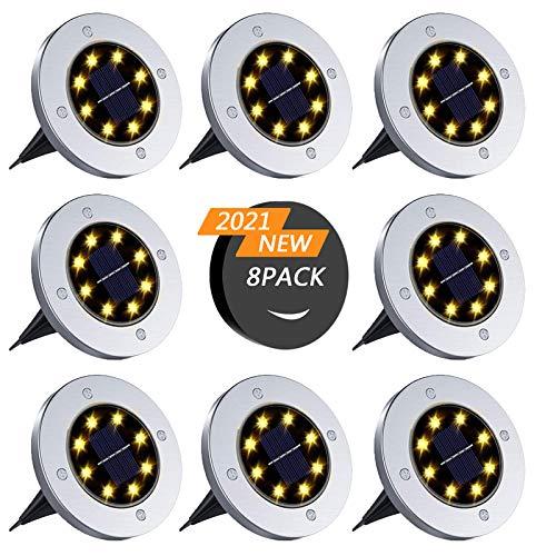 SUPCHON Lampe Solaire Extérieur,8 Pièces Lampe Solaire au Sol Lumière Extérieure étanche Spot Solaires à Encastrer 8LEDS pour Passerelle (Blanc chaud)