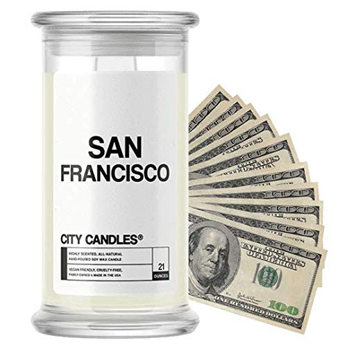 San Francisco City Cash Money Candles | $2-$2500 Inside | Guaranteed Rare $2 Bill | Choose from 30+ Scents | 21oz Jar | Vanilla Lavender | San Francisco
