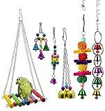 DIFIER Juego de 6 piezas de juguete jaula de loro colgante para campana de madera, columpio, perreras coloridas con alas de pájaros, puente escalada