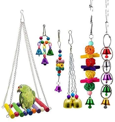 DIFIER Juego de 6 piezas de juguete jaula de loro colgante para...