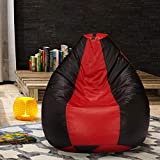 Urban Style Decore Classic Bean Bag with Beans Filled (XXXL, Red+Black)
