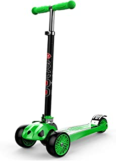 Scooters YXX Kick 3 Wheels for Kids Ages 2-16, 4 Speed Adjustable Height, Foldable Design, 110lb Weight Capacity