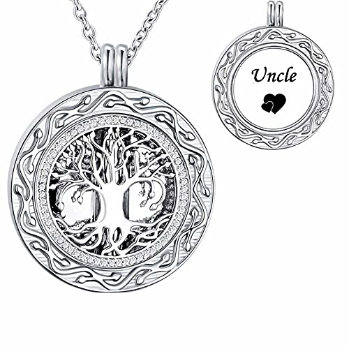 LuxglitterLin Celtic Tree of Life Urn Necklaces for Ashes Uncle Circle of Life Cremation Jewelry Hollow Lockt Keepsake Memorial Pendant