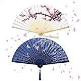 NETUME 2 Pieces Folding Hand Fans for Women, Silk Fabric and Hollow Carved Bamboo Handheld Folding Fan, Chinese Style Hand Fan Folding with Tassels for Wall Decoration/Wedding and Gifts