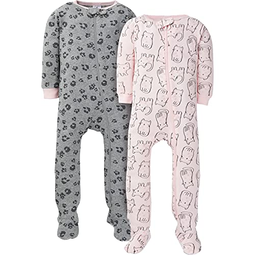 Gerber Baby Girls' 2-Pack Footed Pajamas, Pink Kitty Leopard, 24...