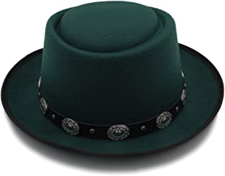 SXQ Women Men Felt Godfather Top Caps with Fashion Bowknot Fedora Pork Pie Hat Cashmere Flat Homburg (Color : Green, Size : 56-58cm)