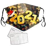 Masrin Erwachsene 2021 Happy New Years Print Mundschutz aus Baumwolle mit 2PC-Dichtung - Mund- und Nasenschutz - Waschbarer wiederverwendbarer winddichter Außenschutz(A)
