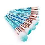 Conjunto de cepillos de maquillaje profesional Set de herramientas de maquillaje portátil de viaje Tinta azul y blanco Patrón de piedra Mármol Maquillaje Pincel Conjunto completo Pinceles de maquillaj