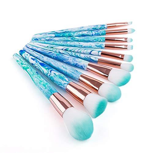 EVFIT Pinceaux à Maquillage Maquillage Portable Voyage Tool Set d'encre Bleu et Blanc Motif Pierre 10 Maquillage en marbre Brosse Full Set (Color : Multi-Colored, Size : Brush x Zipper Bag)
