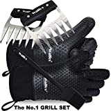 Walfos Insulated Waterproof/Oil & Heat Resistant Silicone BBQ, Smoker, Grill and Cooking Gloves Plus Pork Shredder Claws Plus Silicone Basting Brush - Superior Value Premium Set