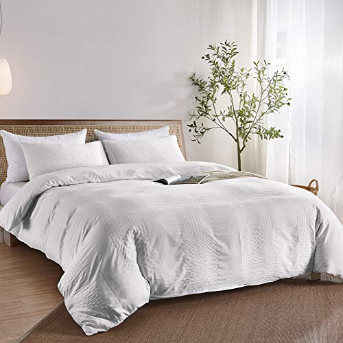 BEDAZZLED Seersucker Duvet Cover Set King, 3 Pieces Stripe Textured Comforter Cover, Soft and Durable Bedding Set for All Seasons, Ivory