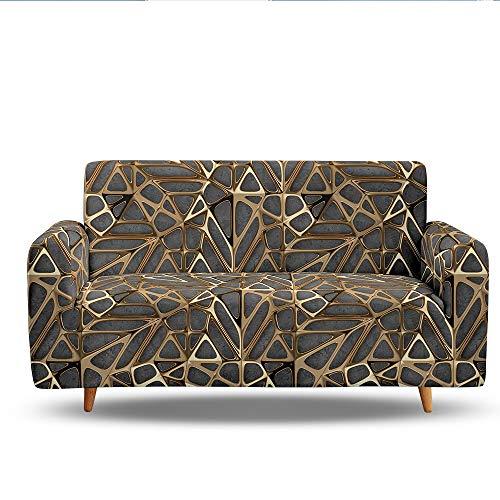 SETSCZY Funda Elástica de Sofá 1/2/3/4 Plazas con Funda de Cojín,Universal Cubierta para Sofá Ajustables con Cuerda de Fijación Textura Geométrica,A,2 Seater