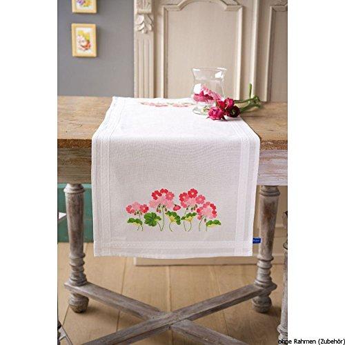 Vervaco kruissteekverpakking tafelloper klassiek borduurwerk voorgedrukt, katoen, wit, 40 x 100 x 0,3 cm