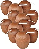 Block Buster Costumes Set of 12 Hawaiian Island Plastic Tropical Coconut Covered Mug Cups with Straw Brown