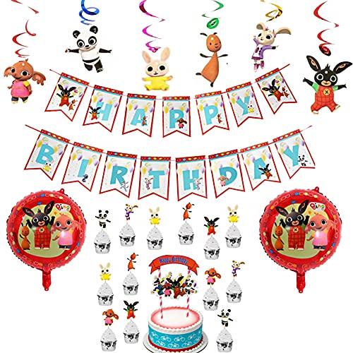 34PCS Partydekorationen, bing Bunny Cartoon Thema Charakter Party Dekoration, Geburtstag Partydekorationen Geburtstag,Latex Ballon, Kinder Geburtstagsfeier Lieferungen