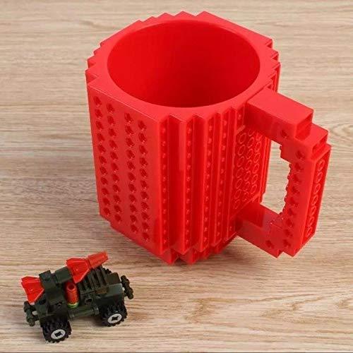 soleditm Kreativ DIY Block Puzzle Tasse Drinkware Bausteine Tassen, 12oz 1x build-on Brick Creative Becher Kaffee Tasse, rot