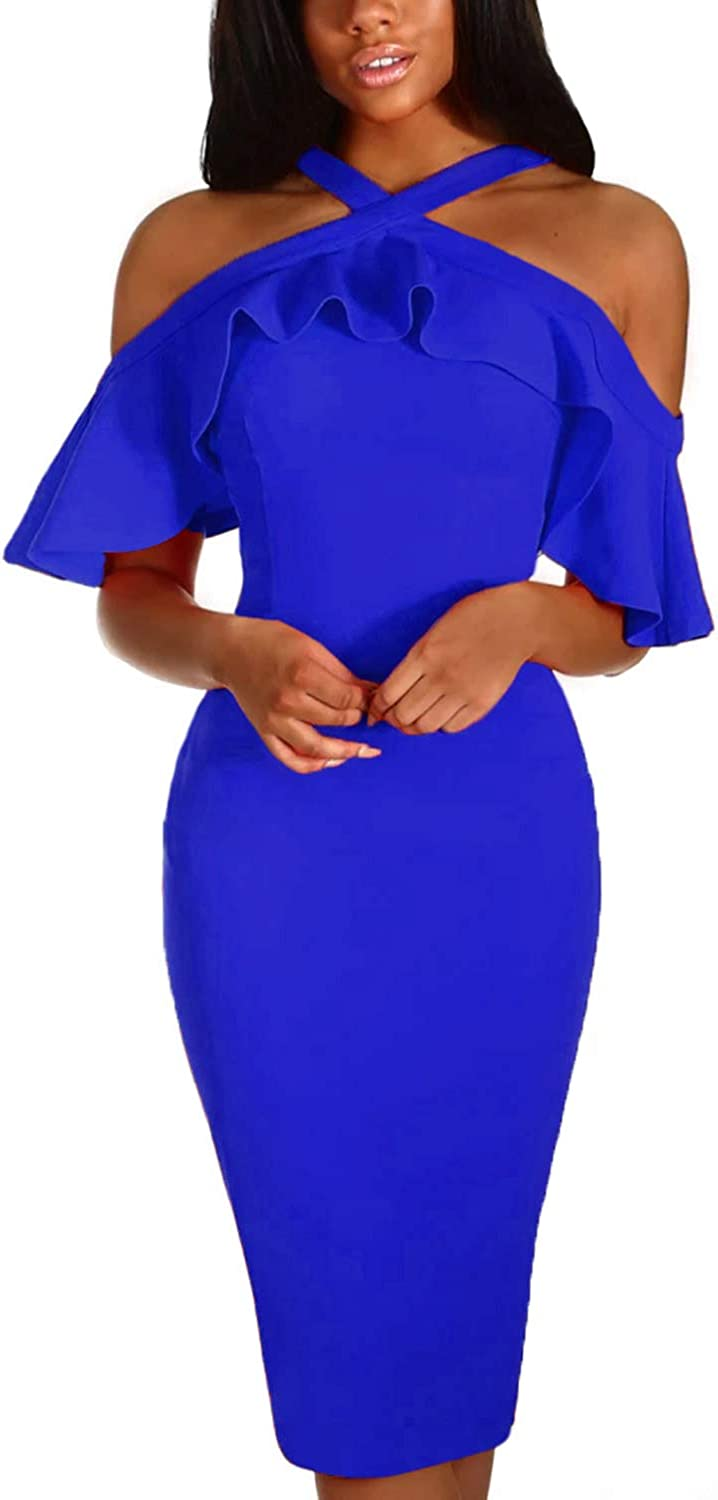 Arainlo Womes Cold Shoulder Frill Ruffle Sleeve Bodycon Midi Party Dress