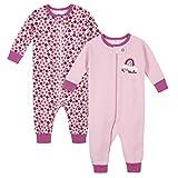 Gerber Baby Girls 2-Pack Thermal Footed Pajamas, Smile, Newborn