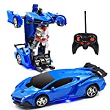 Remote Control Transformer Car, Transformer RC Car for Boys Transformers Toys 2 in 1 Transforming Robot RC Car for 5-12 Years Old Kids Light Up RC Racing Car for Boys 1:18 Scale RC Car (Blue)