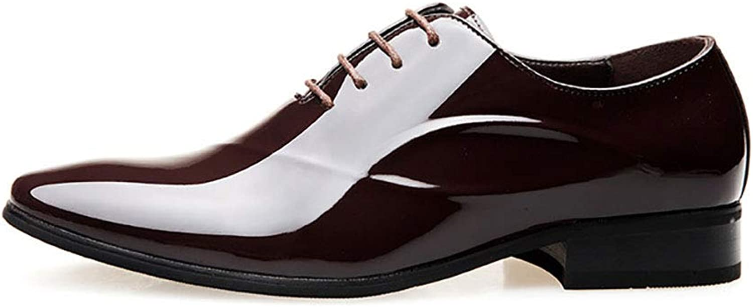 Y-H Men's Leather shoes Spring Fall Lace Up Business shoes Tide Flow Stylish Pointed Glossy shoes Formal shoes Office & Career Party & Evening (color   Brown, Size   44)