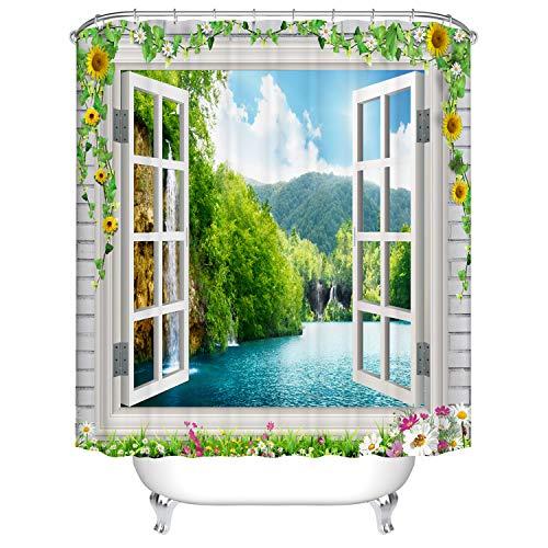 Dodou 3D Sun Flower Window Beach Shower Curtain Waterfall Landscape Scenery Waterproof Fabric Polyester Set with Hooks (72''Wx72''H)