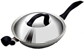 Wok, sartén antiadherente for cocinar de acero inoxidable de alta calidad, adecuada for wok