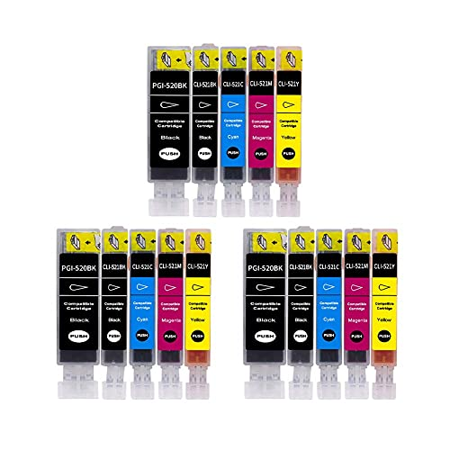 SKSNB Cartucho de Tinta Compatible para Canon PGI 520BK CLI 521BK CMY, para Canon PIXMA IP3600 IP4600 IP4700 MX860 MX87O MP540 MP550 MP560 MP620 MP630 Impresora.