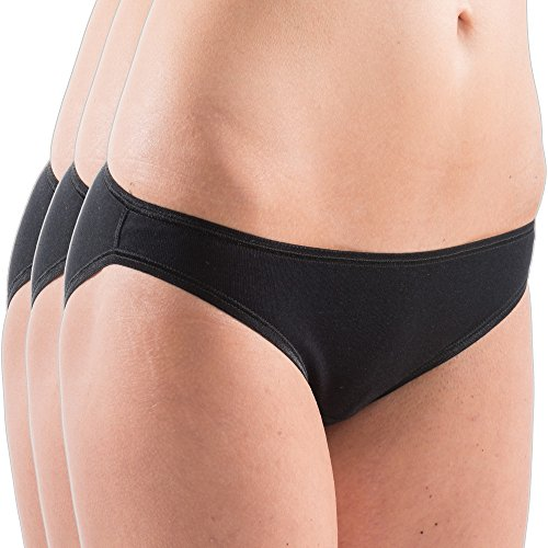 HERMKO 5032 3er Pack Damen Mini Slips aus Baumwolle/Elastan, Farbe:schwarz, Größe:40/42 (M)
