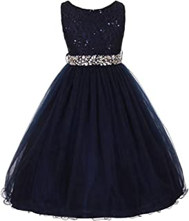 EMERCLY Sleeveless Sparkling Rhinestone Waistline Tea Length Girls Dress