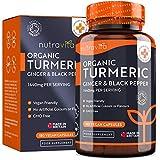 Cúrcuma Orgánica de 1440 mg con Pimienta Negra y Jengibre -180 Cápsulas Vegano de Alta Resistencia (Suministro para 3...