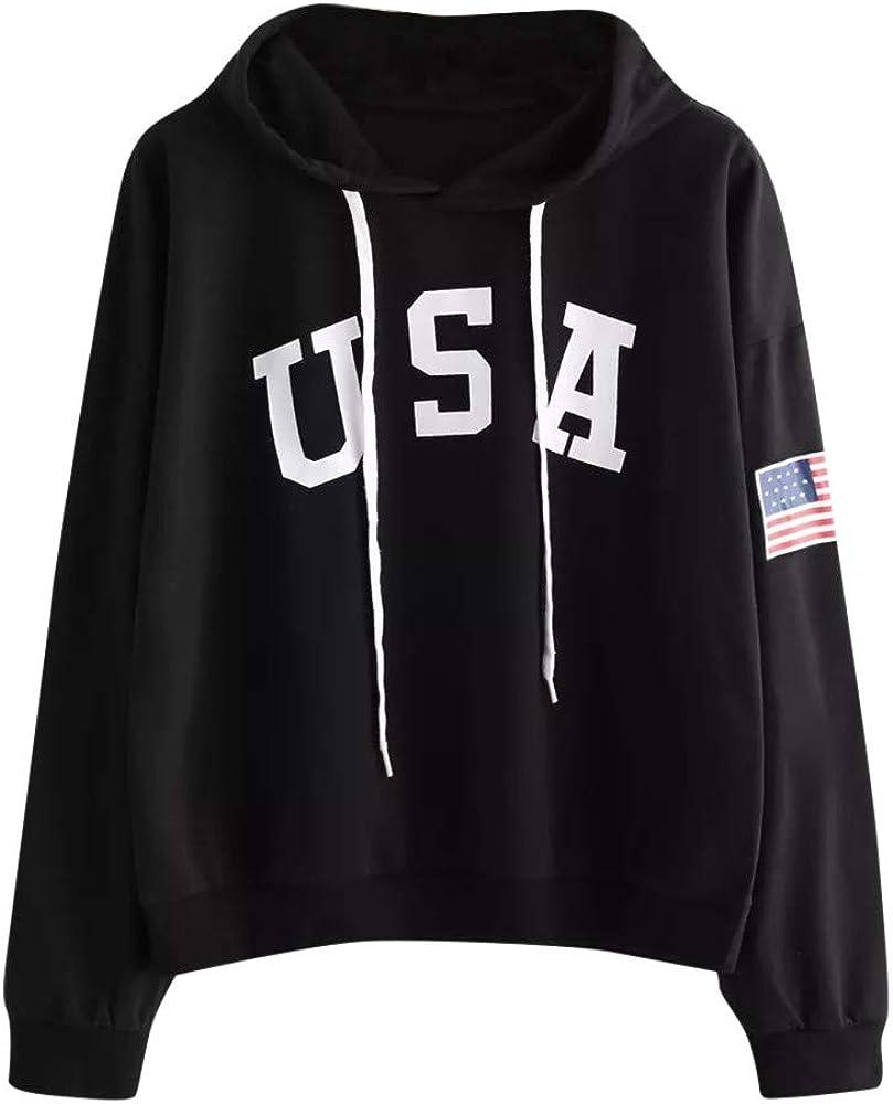 Toeava Women's Hoodie Letter Flag Printed Sweatshirt Long Sleeve Casual Pullover Tops Blouse Drawstring Hooded Tops