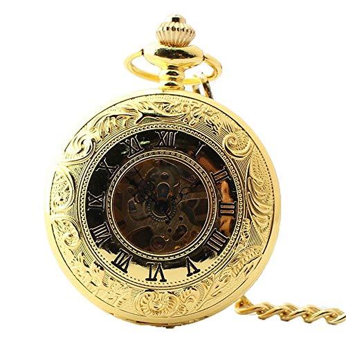 HBIN Reloj de Bolsillo de los Hombres del Acero del Oro del Reloj del Vintage con la Cadena for el Regalo del día de Padres